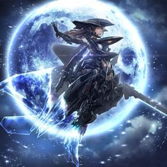 Anime picture 				1500x1500 with  		tomu neko 		long hair 		single 		open mouth 		looking at viewer 		black hair 		brown eyes 		fringe 		night 		night sky 		full moon 		outstretched arm 		mechanical 		cloudy sky 		mechanical wings 		girl 		weapon 		wings 		moon 		helmet