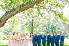 Blush Bridesmaid Dresses + Blue Suits | Simple White Wedding at Old Wide Awake Plantation by Charleston wedding photographer Dana Cubbage