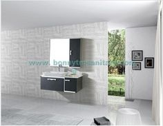 D-8405  Wall hung Modern Black Leather Texture bathroom cabinet