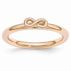Sterling Silver Stackable Expressions Pink-plated Infinity Symbol Ring