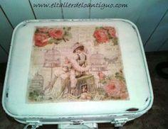 Old white / Blanco Antiguo, Decopintura El Taller de lo Antiguo. maleta polipiel pintada con nuestro blanco antiguo. Rememora la oxidación del blanco tras el paso del tiempo.