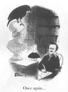 Edgar Allan Poe and his wily Raven. Illustration by Charles Addams