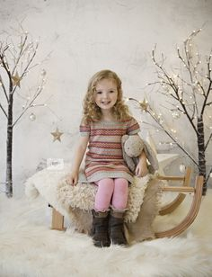 Tree branches, Bench & Winter White Background - Add paper star streamers and Christmas lights. Perfect backdrop for holiday photo.  Ideas for family portraits & Christmas cards.