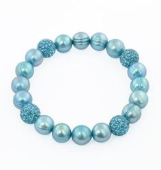 """Sterling silver 9-10mm teal round ringed freshwater cultured pearl and 10mm pave crystal bead 7.25""""-7.5"""" stretch bracelet. Inventory number: 325-24-2324; priced at approximately $70.00"""