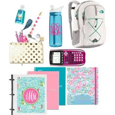 Back to school swoon by floralmermaid on Polyvore featuring polyvore, fashion, style, The North Face, Lilly Pulitzer, Kate Spade, Maybelline and CamelBak