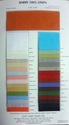 Barry Color Card - Gray Lines Linen, Inc.
