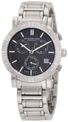 Stuhrling Original Womens Symphony Regent Swiss Chronograph Genuine Diamond Black Dial Watch * You can get more details by clicking on the image. (This is an affiliate link) Stainless Steel Bracelet, Stainless Steel Case, G Watch, Rolex Watches, Wrist Watches, Chronograph, Bracelet Watch, Quartz, The Originals