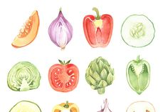 VEGETABLE WATERCOLOR SET - Illustrations - 2