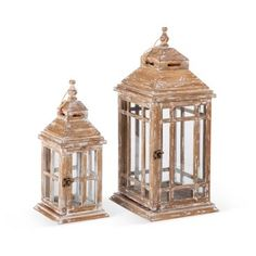 Check out this item at One Kings Lane! Wooden Lanterns, Asst. of 2, Brown