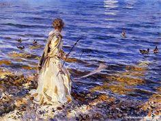 Chica pescando en San Vigilio, del pintor americano John Singer Sargent
