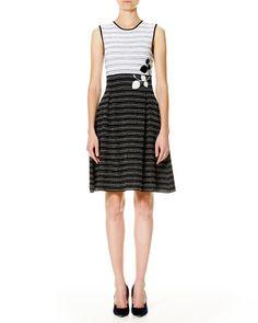 CAROLINA HERRERA Leaf-Embroidered Sleeveless Fit-&-Flare Dress, White/Black. #carolinaherrera #cloth #