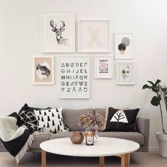 Lounge room with wall art cluster