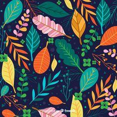 Fondo de hojas coloridas dibujadas a mano | Premium Vector #Freepik #vector #fondo #flor #floral #mano Jungle Illustration, Indian Illustration, Pattern Illustration, Botanical Illustration, Free Paper Texture, Leave Pattern, Book Design Layout, Posca, Mural Painting