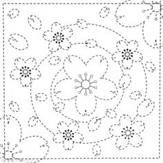 *** Spiral Flowers 36 - Sashiko White Sampler