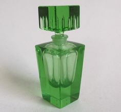 c.1930's French or Czech Deco Emerald Green Cut Crystal Glass Perfume Scent Bottle
