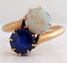 Antique 14K Yellow Gold Opal Blue Spinel Ring Size 5