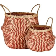 Murmur Seagrass Basket Set Of 2 - Red (68 CAD) ❤ liked on Polyvore featuring home, home decor, small item storage, decor, red, weave basket, colored baskets, seagrass basket, woven storage baskets and woven basket