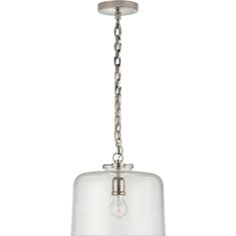 Thomas O'Brien Katie Large Fitter Pendant in Polished Nickel with Seeded Large Dome Glass by Visual Comfort TOB5226PN/G5-SG