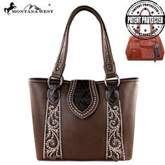 This Montana West Tooling Concealed Carry Handbag Has: - Tooled design on genuine leather on the flap with magnetic closure - Silver embellishments on the boot scroll pattern - A zipper enclosure for