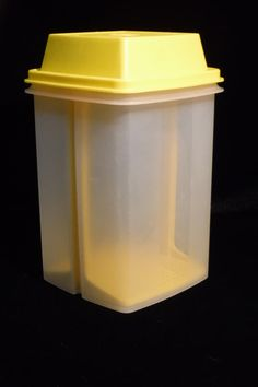 Tupperware Pickle Keeper Vintage Plastic Container 1970's Yellow Retro Tupperware by OriginalVintageGypsy on Etsy