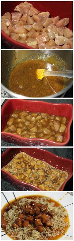Sesame Chicken - 1/2cup honey, 1/4 cup brown sugar, 2 tbsp soy sauce, 1 tbsp garlic powder, sesame seeds