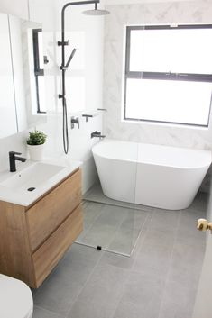 Wet Room Bathroom, Small Bathroom Interior, Small Bathroom Layout, Small Bathroom Renovations, Bathroom Trends, Laundry In Bathroom, Modern Bathroom Design, Bathroom Styling, Neutral Bathroom