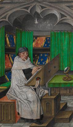 Vincent de Beauvais at work in his study ~ Jean de Vignay, Miroir historial, Vol. ,1. French translation of Vincent of Beauvais, Speculum historial (Bruges, c.1479–8).