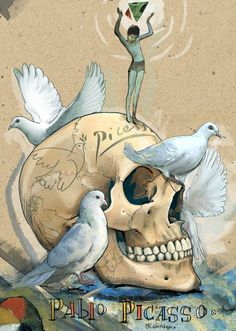 (by Mimi ilnitskaya) Pablo Ruiz y Picasso, also known as Pablo Picasso - was a Spanish painter, sculptor, printmaker, ceramicist, stage designer, poet and playwright #skull #mimiilnitskaya #pablopicasso #picasso #artist #skullsoffamousartists #dove #art #illustration