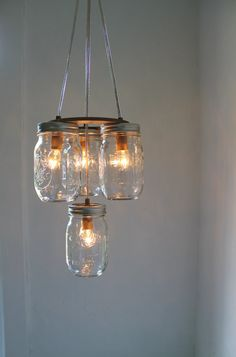 2 Tier Mason Jar Chandelier Hanging Swag Mason Jar by BootsNGus, $100.00