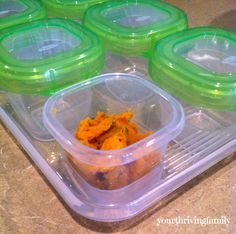 Serve up this Sweet Potato and Kale puree for your little one's #FirstBites! Recipe by @thrivingfamily