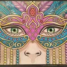 Finished! Mardi Gras mask from Windows To the Soul by Cristina McAllister  Media - FC Polychromos and Prismacolor  #coloringbook #coloringbookforadults #coloringcommunity #prismacolorpencils #polychromos #cristinamcallister #mask #coloringtherapy #colouringbook #coloring #color #creativeescape