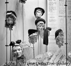 """Faces in the News: 1941 October """"Manikins in store window."""" Faces in the News, and vice versa. Medium-format negative by John Collier. Vintage Mannequin, Mannequin Heads, Creative Fashion Photography, Vintage Photography, 1940s Photos, Vintage Photos, Black White Photos, Black And White, Store Window Displays"""