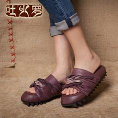 吐火罗原创新款复古手工凉鞋女个性女式漏趾凉拖真皮平底凉拖厚底