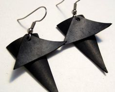Triangle Bicycle Earrings Recycled Innertube Jewelry with Overlapping Geometric Shapes