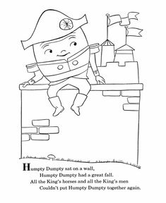 bluebonkers nursery rhymes coloring page sheets humpty dumpty mother goose