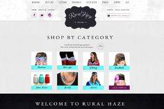 Rural Haze, Website Design, E-Commerce website, blue, turquoise, black, white, clean, clothing website