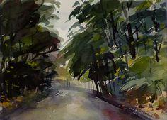 "Wet Spring by Joe Ballard Original Watercolor Painting ~ 10.25""h x 14""w"