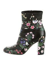 Valentino - Black & Multicolor Floral Print Paneled Ankle Boots | Size 6.5