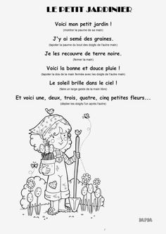 Jeu de doigts MS - Le petit jardinier French Teaching Resources, Teaching French, Teaching Tools, French Poems, French Quotes, Spring Song, Core French, Petite Section, Kindergarten Lesson Plans
