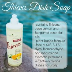 Thieves Dish Soap - clean dishes naturally! Thieves Essential Oil, Bergamot Essential Oil, Essential Oil Uses, Young Living Oils, Young Living Essential Oils, Chemical Free Cleaning, Living Essentials, Cleaners Homemade, Soaps