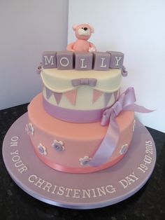 2 tier christening cake. Blocks could be placed on board if more blocks are required
