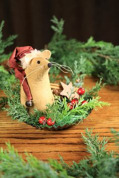 Primitive Christmas Mouse primitive mouse on candle plate
