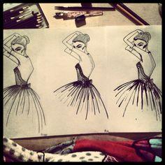 #fashion #fashionillustration #illustration #copy #copying #drawing #graffit #stabilo #tus #woman #clothes #dress #blackandwhite