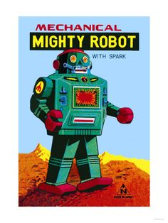 BOYS' ROOM:  Mechanical Green Mighty Robot with Spark Premium Poster
