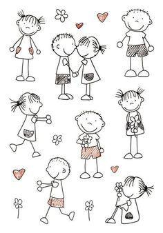 Drawing people kindergarten stick figures ideas for 2019 Doodle Drawings, Easy Drawings, Doodle Art, Doodle Kids, Doodles, Sketch Notes, Stick Figures, Pebble Art, Stone Art