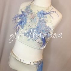 Beautiful one of a kind 2 piece custom costume accented with unique 3-d appliqués and feathers in periwinkle. For sale on Etsy.