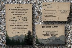 Custom Woodsy Wedding Invitation with Pine Trees and Mountains/Camping Wedding Invitations/Forest Wedding Invitation/Rustic wedding by SocialStationery on Etsy (null)