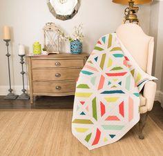 Kona Cotton Fabric & Amy Gibzon Cozy Throw Pattern Quilt Kit