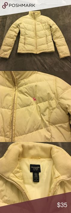 Abercrombie and Fitch puffer jacket in cream Super warm puffer jacket. Pink moose logo. Zips at hips. Inside pocket. Down filling. Cream color. Size medium. Normal wear and tear- discoloration around pockets. Smoke free home! Abercrombie & Fitch Jackets & Coats Puffers