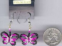 BEADED BUTTERFLY EARRINGS#03,NATIVE AMERICAN JEWELRY